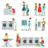 Gente en el lavadero, la limpieza en seco y la colección del servicio de la adaptación de personajes de dibujos animados sonrient Fotografía de archivo libre de regalías