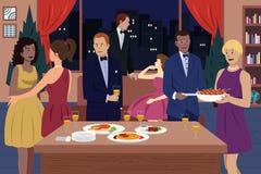 Gente en el partido de cena ilustración del vector