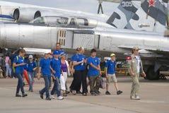 Gente en el salón aeroespacial internacional de MAKS Imagen de archivo