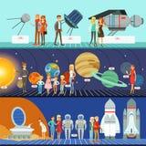 Gente en el sistema del planetario, educación de la innovación stock de ilustración