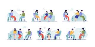 Gente en el sistema del psicólogo Familia en la consulta libre illustration