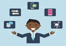 Gente en el trabajo: ejemplo de un experto de la seguridad de las TIC que está manejando diversas tareas libre illustration
