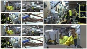 Gente en el trabajo en la producción - pantalla multi almacen de metraje de vídeo