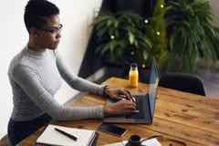 Gente en el trabajo que se sienta en gabinete usando el ordenador portátil y el wifi Fotografía de archivo libre de regalías