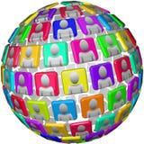 Gente en esfera social global de la red ilustración del vector
