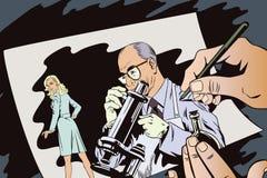 Gente en estilo retro Científico con el microscopio Foto de archivo libre de regalías
