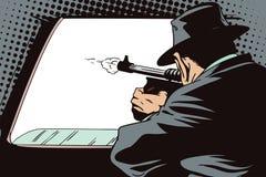 Gente en estilo retro Lanzamientos del gángster fuera de la ventanilla del coche ilustración del vector