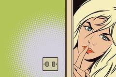 Gente en estilo retro Las llamadas de la muchacha para el silencio Imagen de archivo libre de regalías
