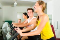 Gente en gimnasio del deporte en la máquina de la aptitud Imágenes de archivo libres de regalías