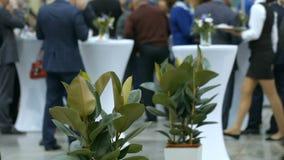 Gente en Hal Foreground Flower Pots espacioso ligero metrajes