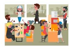 Gente en la cafetería, estilo plano del diseño de personaje de dibujos animados fotografía de archivo