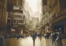 Gente en la calle en ciudad Imagen de archivo libre de regalías