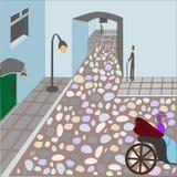 Gente en la ciudad vieja del cuento de hadas ilustración del vector