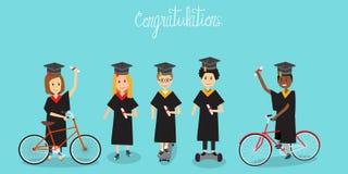 Gente en la enhorabuena de la generación Z para el uniforme garduated IL stock de ilustración