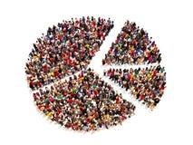 Gente en la forma de un gráfico de la empanada en un fondo blanco libre illustration