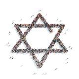 Gente en la forma de una estrella judía, religión Fotos de archivo libres de regalías