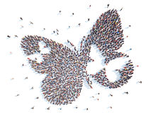 Gente en la forma de una mariposa Fotos de archivo libres de regalías