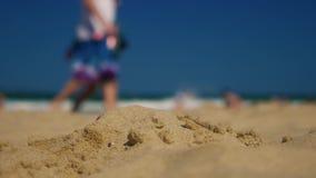 Gente en la playa arenosa