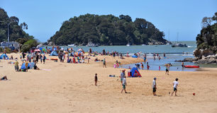 Gente en la playa de Kaiteriteri, Nueva Zelandia Foto de archivo