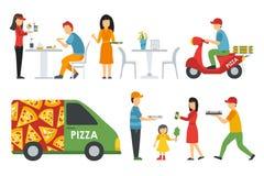 Gente en los iconos planos interiores de un bistro de la pizzería fijados Ejemplo del vector del web del concepto de la pizza ilustración del vector