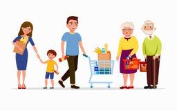 Gente en los productos de compra del supermercado Hombres y mujeres en la alameda Familia en tienda, madre, padre, hijo y abuelit libre illustration