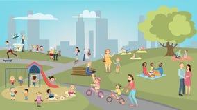 Gente en parque ilustración del vector