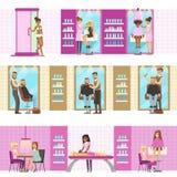 Gente en salón de belleza que disfruta de tratamientos del pelo y de Skincare y de procedimientos cosméticos con los Cosmetologis libre illustration