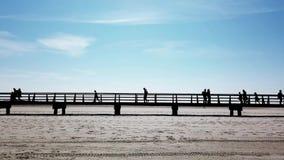 Gente en silueta que camina en la calzada a través de la playa almacen de video