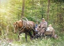 Gente en un carro con un caballo Imágenes de archivo libres de regalías
