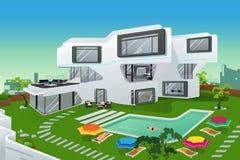 Gente en una casa moderna del estilo stock de ilustración