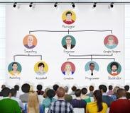 Gente en una conferencia sobre jerarquía del empleo Imagenes de archivo