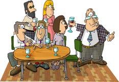 Gente en una consumición del partido stock de ilustración