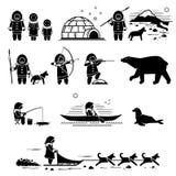 Gente esquimal, forma de vida, y animales ilustración del vector