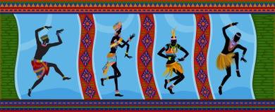 Gente etnica dell'Africano di ballo Immagine Stock