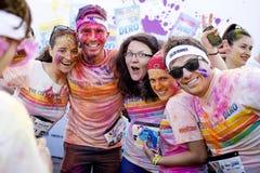 Gente felice brillante al funzionamento Bucarest di colore Immagine Stock Libera da Diritti