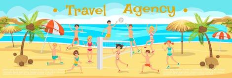 Gente felice che gioca beach volley Giorno pieno di sole Illustrazione Vettoriale