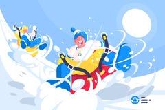 Gente felice che gode della guida del cilindro royalty illustrazione gratis