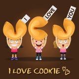 Gente felice che porta i grandi biscotti di fortuna Fotografia Stock