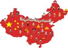 Gente felice cinese del fumetto Fotografia Stock Libera da Diritti