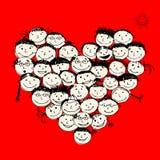 Gente felice, figura del cuore per il vostro disegno Fotografie Stock Libere da Diritti
