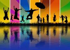 Gente felice - riflessione dell'acqua Fotografia Stock Libera da Diritti