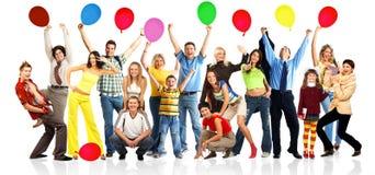 Gente feliz con las bolas Fotos de archivo libres de regalías