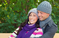 Gente feliz del tiempo frío Imágenes de archivo libres de regalías