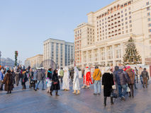 Gente feliz en el cuadrado de Manege, Moscú Fotografía de archivo libre de regalías
