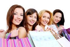 Gente feliz joven hermosa con el regalo Fotografía de archivo