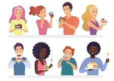 Gente feliz que come el sistema de la empanada y de las tortas Ejemplo del vector de la historieta del hombre y de la mujer del g imagenes de archivo