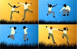 Gente feliz que salta en naturaleza Ilustración del Vector