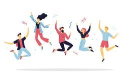 Gente feliz que salta para la alegr?a Mujeres y hombres a mano divertidos de la historieta en un partido ilustración del vector
