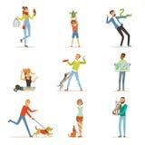Gente feliz que se divierte con los animales domésticos, el hombre, las mujeres y los niños entrenando y jugando ilustración del vector