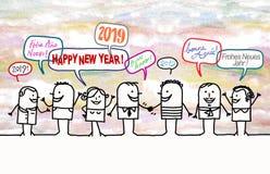 Gente feliz y Año Nuevo 2019 de la historieta ilustración del vector